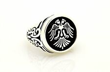 DOUBLE HEAD EAGLE 925 STERLING SILVER UNISEX RING 9.5,11.75 TURKISH JEWELRY USA
