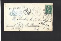 ZANESVILLE, OHIO COVER. BANKNOTE. SEVERAL AUXILLARY MARKINGS, FORWARDED, DUE 3.