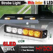 6 LED Amber Y White Car Emergency Warning Hazard Beacon Flash Strobe Light Bar