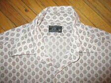 vtg 1960s 70s Jc Penney Shirt Tan Brown Tapered Geometric Pixelated Honeycomb Md