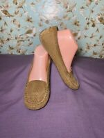 Size 8   Lucky Brand Women's Loafer Perforated Leather Moc Toe Brown Slip On