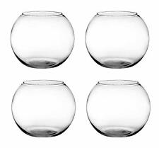 Tea Light Candle Holder, Clear, Lead Free Glass Home Decor 10 cm Round, Set of 4