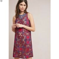Anthropologie Maeve Moran Beaded Shift Dress Red Blue Floral Size 00 Petite NEW
