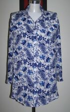 BOOHOO UK12/14 WHITE & BLUE FLORAL PRINT SILKY SOFT LONG SLEEVE SHIRT