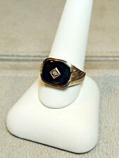 NEW Vintage 10kt White Gold Antique Black Onyx & Diamond Men's Ring HELM & HAHN