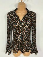 WOMENS MARKS & SPENCER CHOCOLATE MIX SPOTTED PLEATED SMART SHIRT BLOUSE TOP UK12