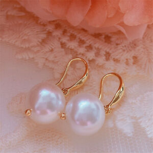 12MM white baroque Shell pearl earrings 18KGP Holiday gifts Party Fashion Gift