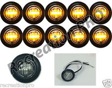 """10 NEW 3/4"""" CLEAR/AMBER LED CLEARANCE MARKER BULLET LIGHTS W/BLACK TRIM RING"""