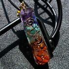 7 Chakra Natural Stone Square Pendant Necklace Reiki Healing Chips Jewelry Gifts