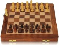 "10"" Wooden Magnetic Chess set Travel Sheesham wood Golden Rosewood"