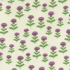 Fat Quarter Thistle Flowers on Cream Cotton Quilting Fabric Scotland Nutex