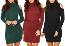 Womens Cold Shoulder Knitted Jumper Dress Cowl Neck Lurex Glitter Xmas Party Top