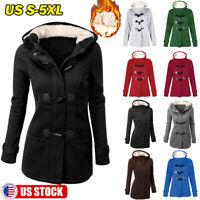 Women Trench Parka Hooded Coat Jacket Winter Warm Long Fur Lined Hoodies Outwear