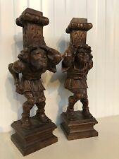 Nice pair of French Walnut Breton Jesters / Jokers / Statues