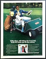 1974 SF Baseball Legend Willie Mays in Golf Cart photo Esquire Socks print ad