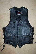 New Black Leather JR LEATHER Snap Front Side Lined Vest 36