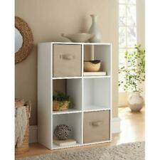 White 6 Cube Storage Organizer Home Decorative Wooden Furniture Cabinet