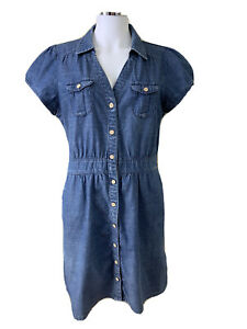 Jeanswest Size 16 Denim Blue Button Up Short Sleeved Knee Lgth Dress w Pockets