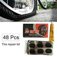 48+1 Motor Bicycle Bike Tyre Tire Inner Tube Puncture Rubber Patches Repair Kit