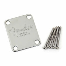 Fender American Series Text Logo Neck Mounting Plate with Screws (Chrome)