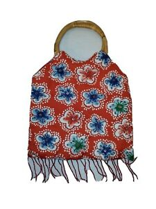 Q&A Beaded Cloth Red Floral round bamboo handles Beaded Fringe bag