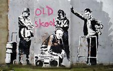 "BANKSY STREET ART *FRAMED* CANVAS PRINT Old Skool 24x16"" stencil -"