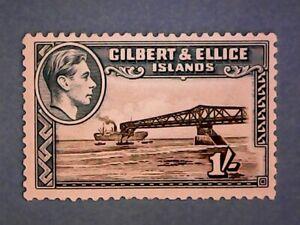 Gilbert & Ellice Is. KGVI 1951 1s Blk & Turq-Blu. SG51ab. Wmk Mult Script CA. MH