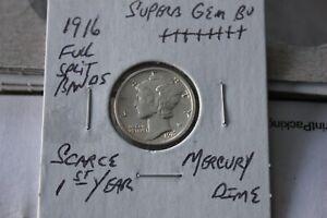 1916  FULL SPLIT BANDS  UNC+++ MERCURY DIME