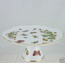 VINTAGE SMALL FOOTED CAKE PLATE GOLD RIMS, BUTTERFLIES, INSECTS AND STRAWBERRY