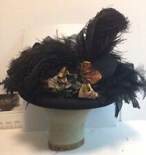 Antique Victorian black felt & ostrich feather lady's hat