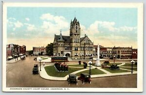 Anderson SC~Trolley at Court House Square~Stores~Civil War Monument Plaza~1916