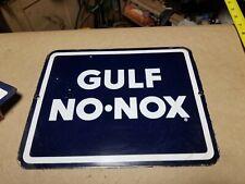Gulf No Nox Original Porcelain Pump Plate Sign Gas Oil