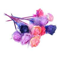 (EU) 20pcs Handcrafted Plastic Rose Flower Ball Pen Ballpoint Gift FreeColor