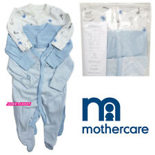 New Mothercare Boys Babygrow Poppers All In One 3x Baby Blue Sleepsuit