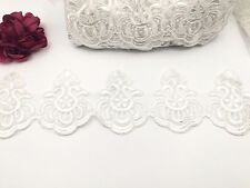 IVORY EDGING BRIDAL LACE EMBROIDERED TRIMMING RIBBON WEDDING FLORAL SEWING TRIM