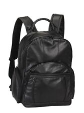 "Black NAPA Leather Backpack 15"" Laptop and a Tablet Sleeve Bellino AP5526"