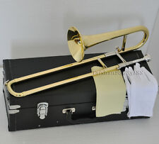 Top JINBAO Gold Bb Slide Trumpet horn Mini Trombone horn new with leathercase