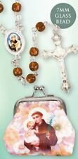 SAINT ANTHONY GLASS ROSARY BEADS WITH CLOTH PURSE - CANDLES STATUES ARE LISTED