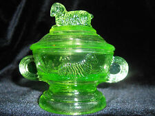 Green Vaseline glass childs cookie cracker jar lamb sheep pattern sugar Uranium