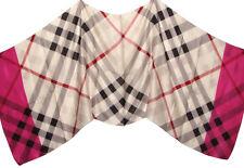 "Women's 100% Satin Silk Scarf / Pink / Plaid / 68"" X 26"""