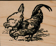 """mounted rubber stamps   Chickens   wood mount 2"""" X 2 1/2"""""""
