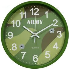ARMY CAMOUFLAGE WALL CLOCK WOODLAND CAMO CADETS KIDS BEDROOM OFFICE