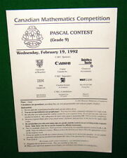 1992 PASCAL CONTEST Grade 9 Canadian Mathematics Competition Test Folder.