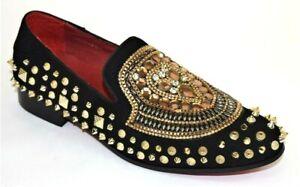Men's Dress Casual Fancy Shoes Slip On Loafers Black/Gold Metal Spikes FIESSO