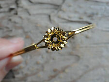 Hamilton Gold Open Cuff bracelet Flower 4mm round glue on 0937 (pkg 3)