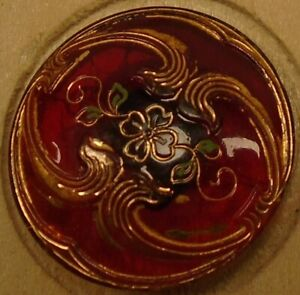 "7/8"" Victorian Translucent Red Glass Button 38:18"
