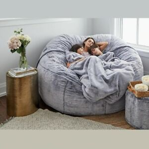 Luxury Giant Fluffy Fur Bean Bag Case Seat Couch Lazy Sofa Recliner Pouf Bed