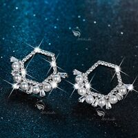 18k white gold gf made with SWAROVSKI crystal stud pearl earrings 925 silver