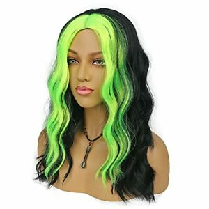 Wavy Synthetic Wigs for Women Middle Part Shoulder Length Neon Green and Black