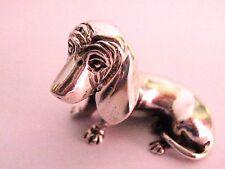 Solid Sterling Silver 925 Basset Hound Dog Miniature statue figure figurine 33mm
